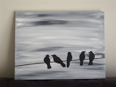 Abstract Simple Abstract Black Canvas Painting by Bird Silhouette Acrylic Painting On Canvas Grey Black