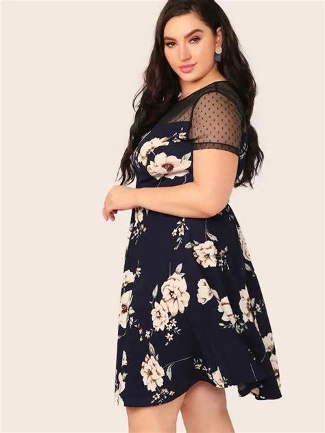 Plus Dobby Mesh Yoke Floral Print Dress | Floral print ...