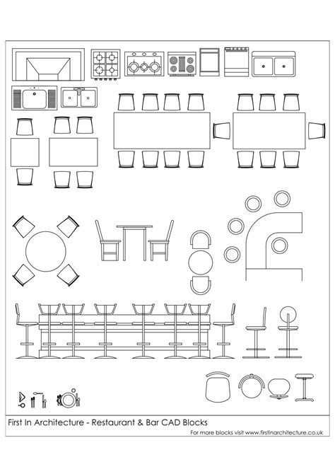 Free CAD Blocks   Restaurant and Bar