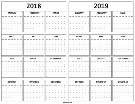 2018 2019 academic calendar template printable calendar 2018 to 2019 printable monthly calendar templates