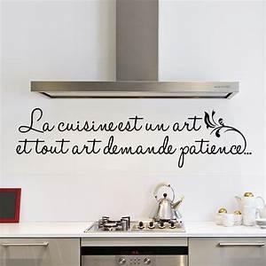 Stickers Muraux Cuisine : sticker la cuisine est un art stickers citations ~ Premium-room.com Idées de Décoration