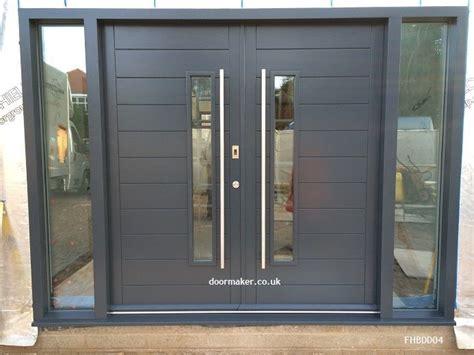 grey contemporary double doors grey front door ideas
