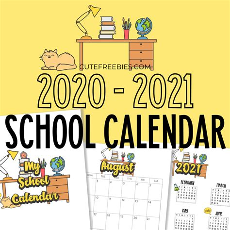 school calendar printable cute freebies