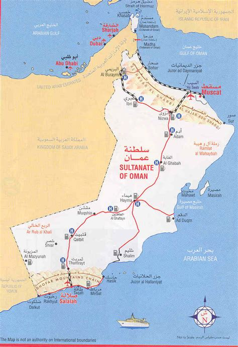 detailed road map  oman oman detailed road map