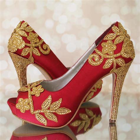 Indian Wedding Indian Bride Red Wedding Shoes High Heel