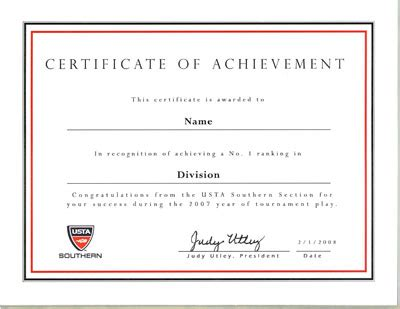 usta southern ranking certificates general news news