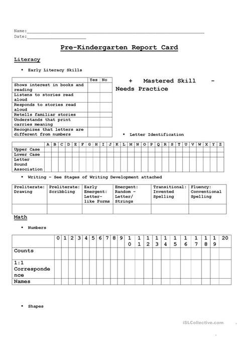 prek assessment worksheet  esl printable worksheets