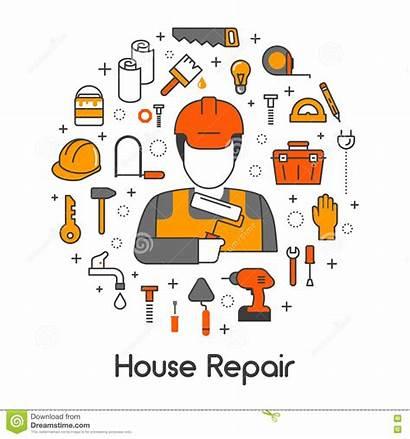 Repair Clipart Renovation Icons Tools Repairman Line
