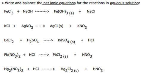 ionic salt l recall write and balance the net ionic equations for the