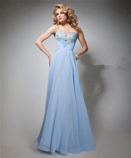 light blue prom dress a line strapless sweetheart light blue