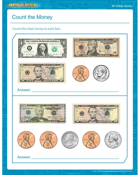 worksheet of the week count the money the math blaster blog