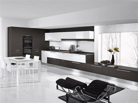 Modern Black And White Kitchen Combination With Dining And