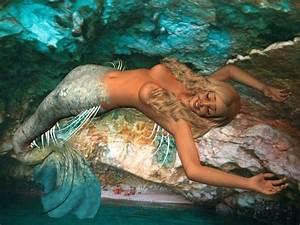 mermaids | Real mermaid resting on a rock - by Cyberalbi ...