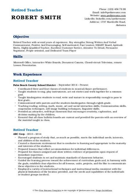 Resume For Retired Person by Retired Resume Sles Qwikresume