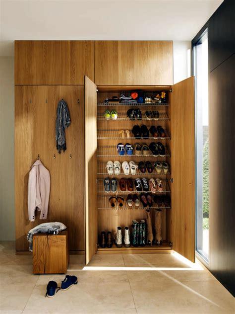 wooden wardrobe  shoes rack integrated interior design ideas ofdesign