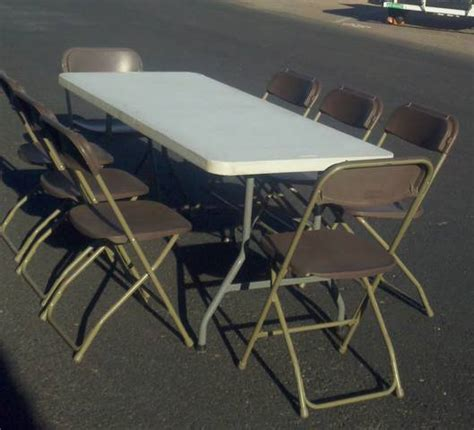 table and folding chair rentals in