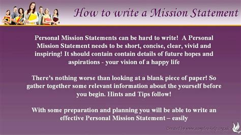 write personal mission statements youtube