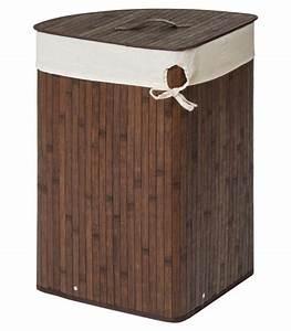 Panier à Linge Bambou : panier linge d 39 angle en bambou marron et int rieur ~ Dailycaller-alerts.com Idées de Décoration