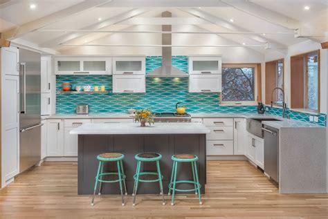 Kitchen Backsplash Turquoise by Remodeled Kitchen W Wavy Turquoise Backsplash White