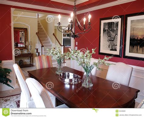 red dining room stock photo image  railing luxury
