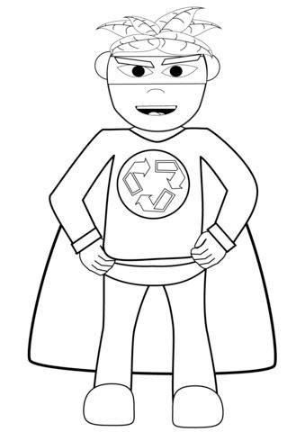recycling superhero coloring page  printable