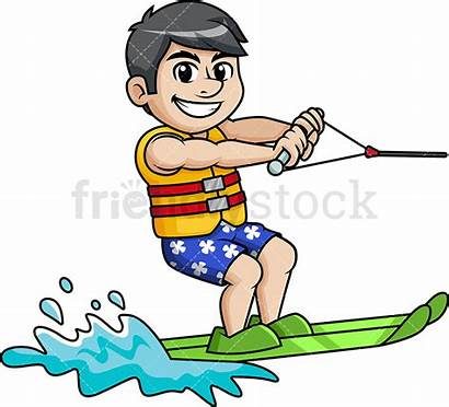 Skiing Water Clipart Ski Cartoon Skier Summer