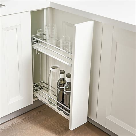 """Spice Pull Out 2 Shelf 6"""" Open Grey/Chrome, Right    041"""