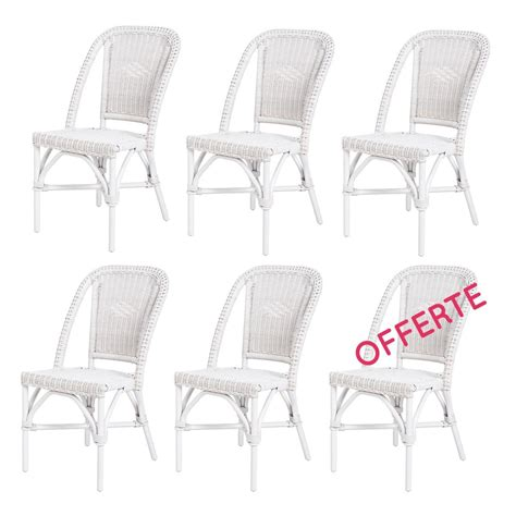 lot de 6 chaises blanches chaise en rotin blanc selva rotin design lot de 6 chaises