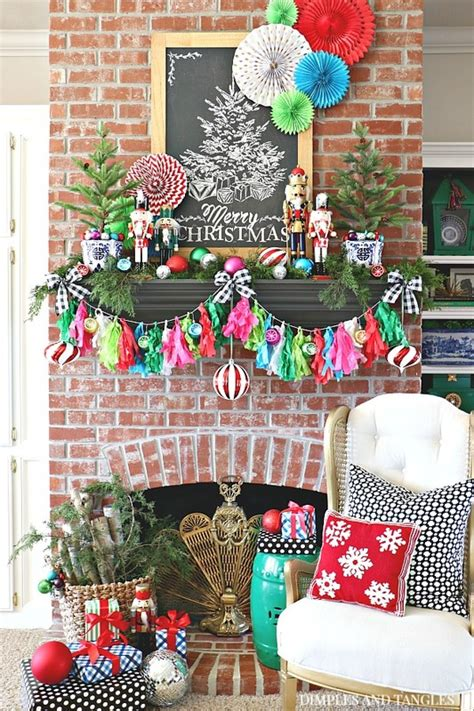 colorful christmas mantel  hobby lobby dimples