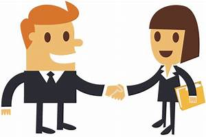 Cartoon Businessman Shaking Hands With A Businesswoman ...