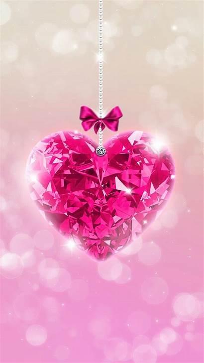 Glitter Heart Wallpapers Iphone Diamond Bling Rosa