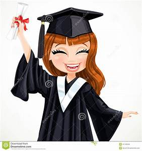 Diploma Graduating Happy Girl Stock Vector - Image: 41740540