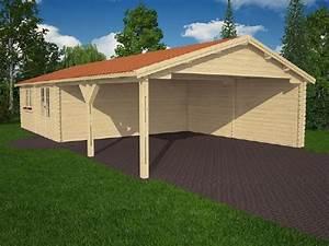 Abri En Kit : abri voiture avec chalet en kit cerisier 44mm ~ Premium-room.com Idées de Décoration