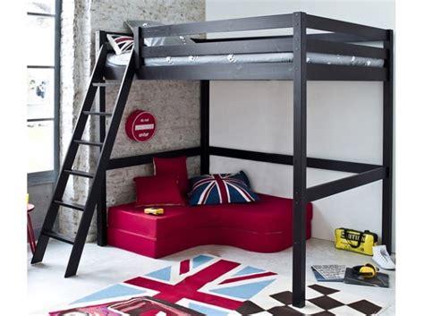 lit en hauteur avec canap idée lit deux places en hauteur