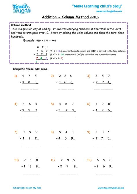 addition column method htu tmk education