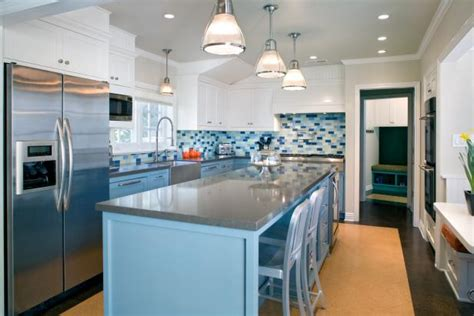 bright contemporary blue kitchen  cork floor hgtv