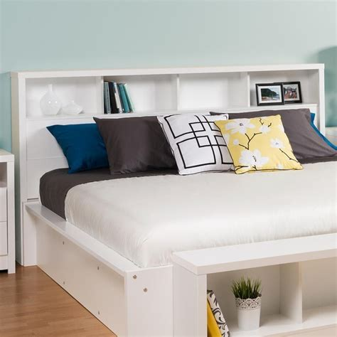 Size White Storage Bed With Bookcase Headboard by King Size Bookcase Headboard With Storage Shelves In White