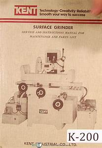 Ken Kgs  Surface Grinder  Service Operations And Parts