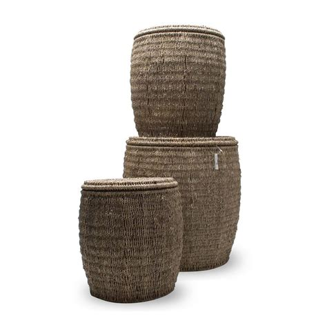 seagrass ottoman storage tag seagrass storage ottoman baskets with lids set of 3