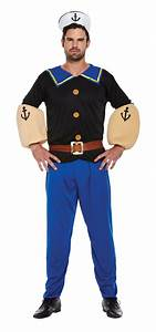 Strong Sailor Man Fancy Dress Cartoon Mens 80s Adult 1980s Costume Outfit + Hat | eBay
