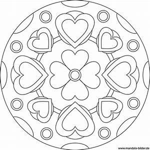Herzen Zum Ausmalen : gratis mandala vorlage mit einer blume und vielen herzen ~ Buech-reservation.com Haus und Dekorationen