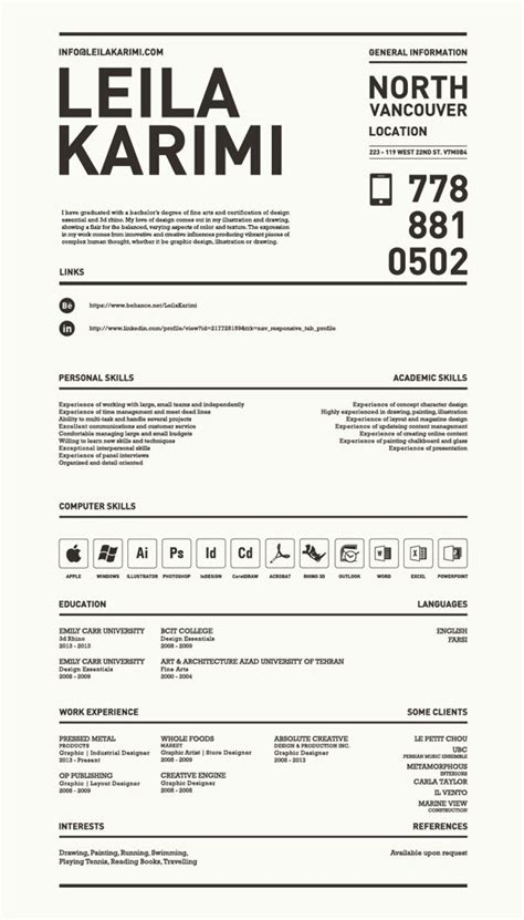 Great Resumes by Really Creative Simple Resume By Leila Karimi Via
