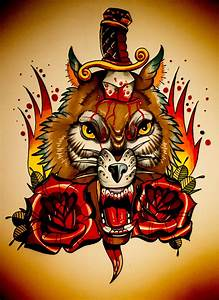 Scary new school colorful wolf head pierced with dagger ...