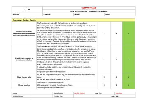 Wood Floor Installation Risk Assessment Example to Download