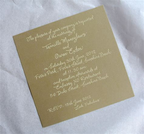 Gold With Cream Foil Calligraphy Wedding Invitation