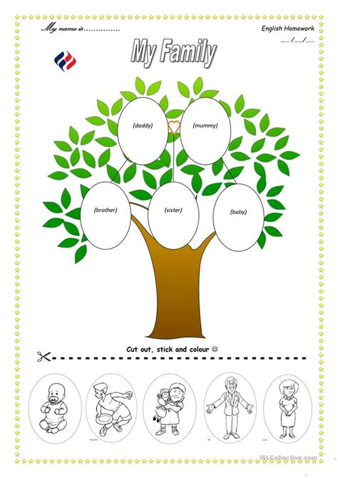family tree english esl worksheets