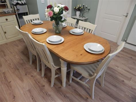shabby chic pine table shabby chic ducal pine extending dining table 6 chairs sold moonstripe