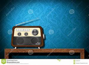 Retro Radio On Wood Table With Blue Wallpaper Royalty Free ...