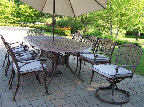 oakland living cast aluminum patio dining set 84 x 42