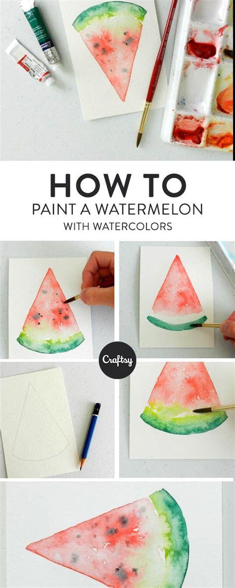 watercolor watermelon  steps  painting  slice